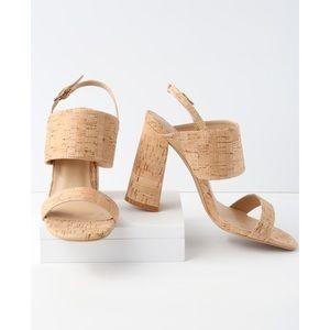 Lemon Drop Emony cork heels. Size 10